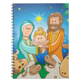 Caderno Espiral Cena doce da natividade do bebê Jesus