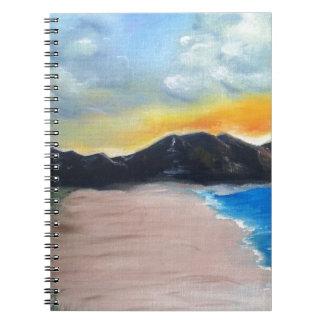 Caderno Espiral Cena pintada da praia