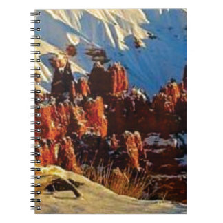 Caderno Espiral cenas da rocha vermelha nevado