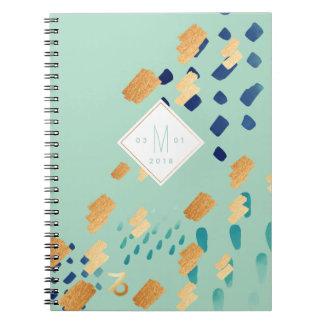 Caderno Espiral Cerceta do abstrato do zodíaco do Capricórnio &