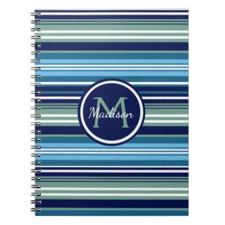 Caderno Espiral Cerceta dos azuis marinhos e nome branco do teste