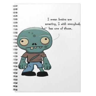 Caderno Espiral cérebros do amor dos zombis