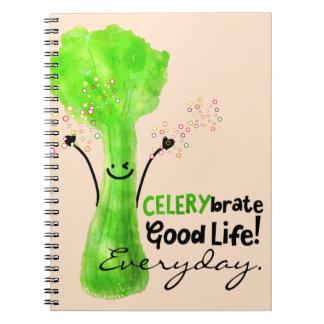 Caderno Espiral Chalaça positiva do aipo - boa vida de Celerybrate