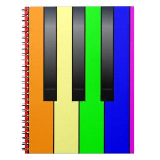 Caderno Espiral Chaves alegres do piano do transporte