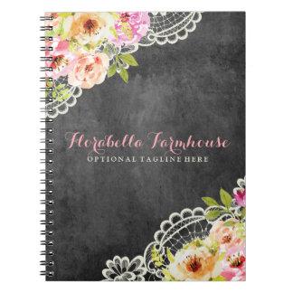 Caderno Espiral Chique rústico do laço dos rosas da casa da quinta