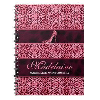 Caderno Espiral Chita cor-de-rosa para o escritor