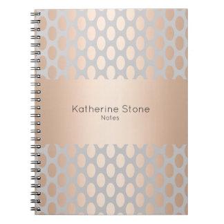 Caderno Espiral Cinza cor-de-rosa do teste padrão de bolinhas do