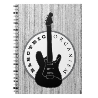 Caderno Espiral Cinza legal da madeira elétrica da música rock da