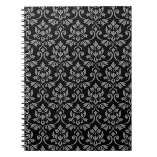 Caderno Espiral Cinzas da cor damasco de Feuille no preto