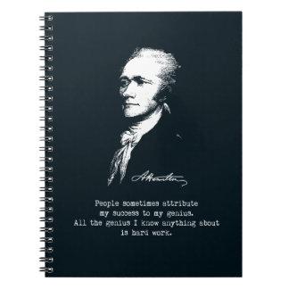 Caderno Espiral Citações de Alexander Hamilton. Sucesso, gênio