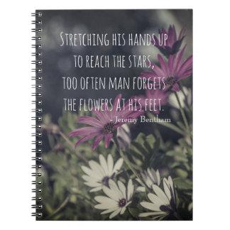 Caderno Espiral Citações de inspiração de Jeremy Bentham