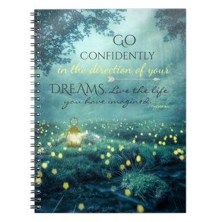 Caderno Espiral Citações de inspiração lunáticas dos sonhos