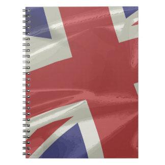 Caderno Espiral Close up de seda da bandeira de Union Jack