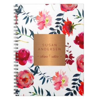 Caderno Espiral Cobre cor-de-rosa elegante floral do ouro do