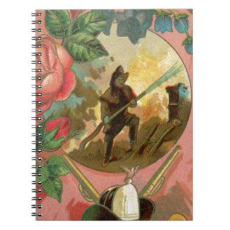 Caderno Espiral Cobrir do sapador-bombeiro do bombeiro dos 1880's