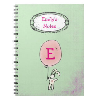 Caderno Espiral Coelho bonito que guardara um monograma do balão