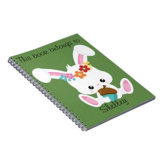 Caderno Espiral Coelho branco pequeno adorável personalizado