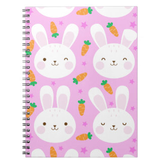 Caderno Espiral Coelhos bonitos e cenouras dos desenhos animados