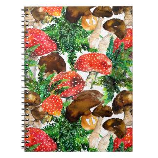 Caderno Espiral Cogumelos da aguarela e teste padrão verde da