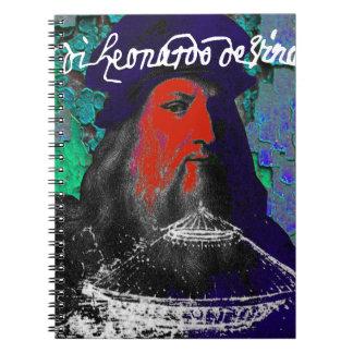 Caderno Espiral Colagem dos meios mistos do gênio de Leonardo da