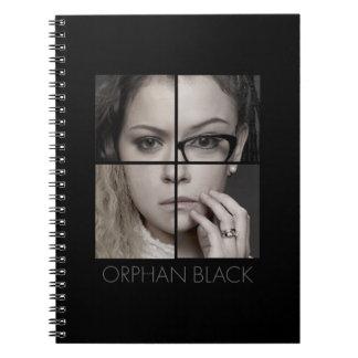 Caderno Espiral Colagem órfão do clone do preto |
