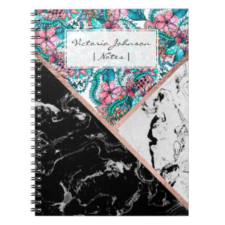 Caderno Espiral Colorblock floral do ouro cor-de-rosa branco preto