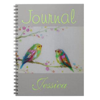 Caderno Espiral Coloridos pequenos jornal cinzento pintado dois