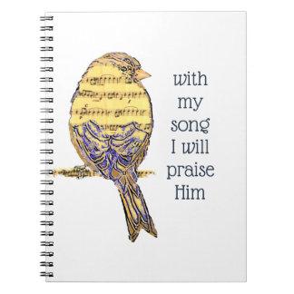 Caderno Espiral Com minha canção eu elogio-o pássaro da escritura