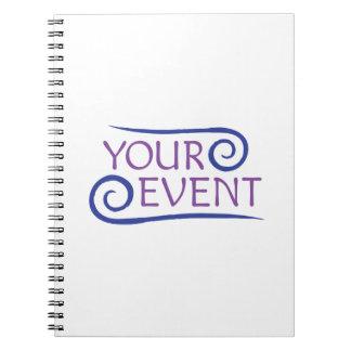 Caderno espiral com o presente do cliente do