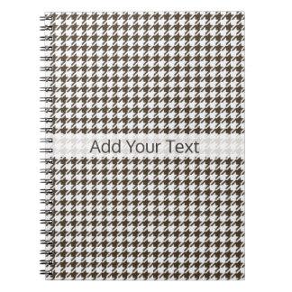 Caderno Espiral Combinação Houndstooth de Brown por Shirley Taylor