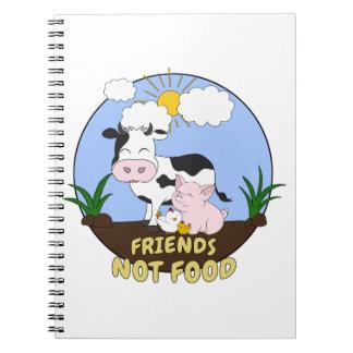 Caderno Espiral Comida dos amigos não - vaca bonito, porco e