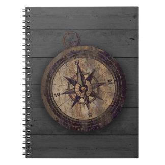 Caderno Espiral Compasso de Brown do vintage