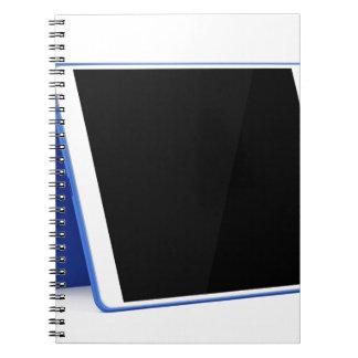 Caderno Espiral Computador da tabuleta no branco