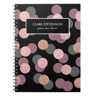 Caderno Espiral confetes cor-de-rosa elegantes do rosa pastel do