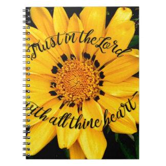 Caderno Espiral Confiança no senhor Brilhante Amarelo Flor