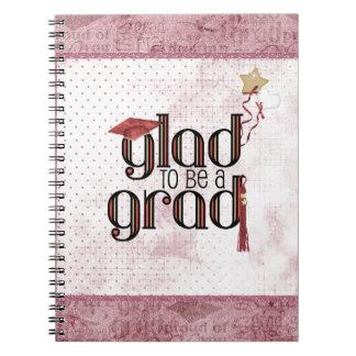 Caderno Espiral Contente de ser um formando, vermelho, boné,