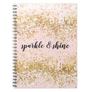 Caderno Espiral Cora a faísca cor-de-rosa dos confetes do ouro