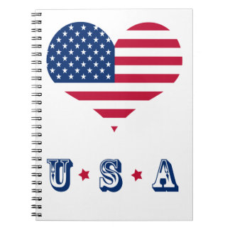 Caderno Espiral Coração americano dos EUA da bandeira de América