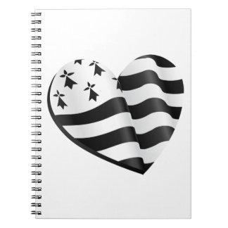 Caderno Espiral Coração bretão da bandeira