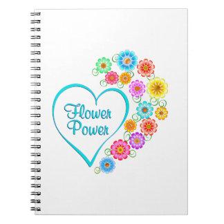 Caderno Espiral Coração de flower power