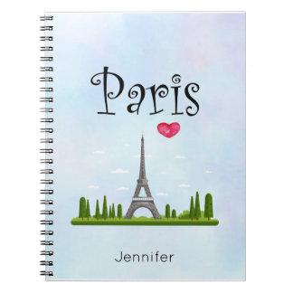 Caderno Espiral Coração Paris com costume da torre Eiffel