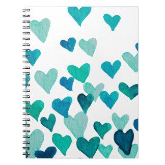 Caderno Espiral Corações da aguarela do dia dos namorados -