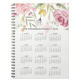 Caderno Espiral Coram o rosa e o calendário 2018 das flores | do