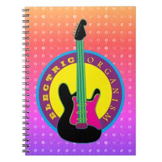 Caderno Espiral Cores legal do néon da música rock da guitarra