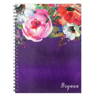 Caderno Espiral Costume roxo floral do chique do partido da