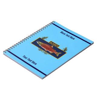 Caderno Espiral Crachá do pescador do combate de Alaska