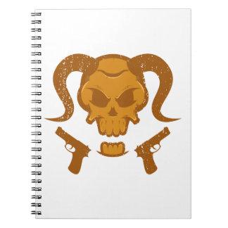 Caderno Espiral Crânio com arma