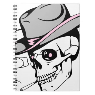 Caderno Espiral crânio cor-de-rosa do olho