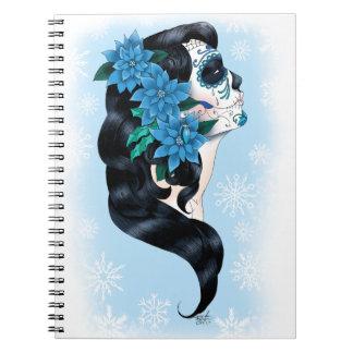 Caderno Espiral Crânio do açúcar do inverno