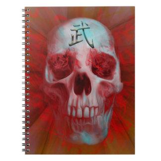 Caderno Espiral Crânio do Kanji do guerreiro